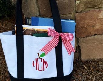 Apple Monogram Medium Size Tote Bag-Teacher Gift-