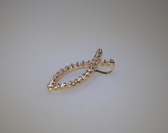 Fish Pendant with Diamonds in 14K Gold