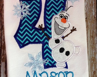 Olaf inspired custom embroidered personalized birthday shirt