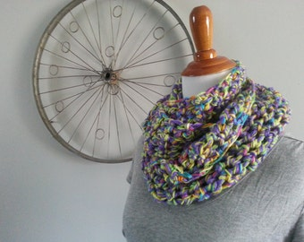 Sale!! CROCHET INFINITY SCARF| Purple and yellow with bright multi-color accent infinity scarf | Infinity Scarf