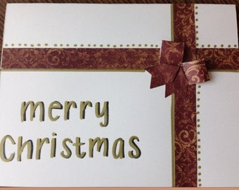 Handmade Merry Christmas Card with red and gold accents (holidays, Christmas, etc.)
