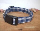 Dog Collar. Homespun. Blu...