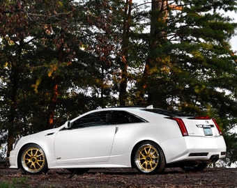 Poster of Cadillac White Left Side CTS-V HD Print
