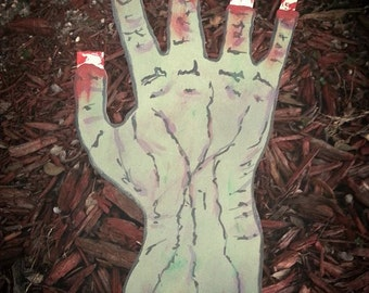 Scary Zombie Hand - Glow in the Dark Halloween yard decoration