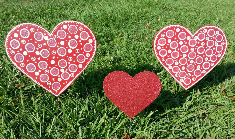 3 Valentines Day Heart Yard Decoration Heart Garden Decor