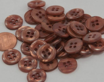 """Lot of 24 Pearlized Golden Brown Plastic Buttons 5/8"""" 15mm # 6543"""
