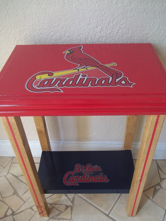 st louis cardinals inspired table man cave manly decor. Black Bedroom Furniture Sets. Home Design Ideas