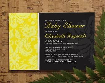 Yellow Damask Baby Shower Invitation Template| Girl Baby Shower Invitations | Boy Baby Shower Invites | Printable, Digital PDF, DIY Printed