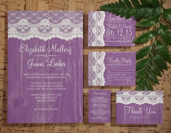 Purple Rustic Wedding Invitations: Purple Rustic Lace/Barn Wood Wedding Invitation By
