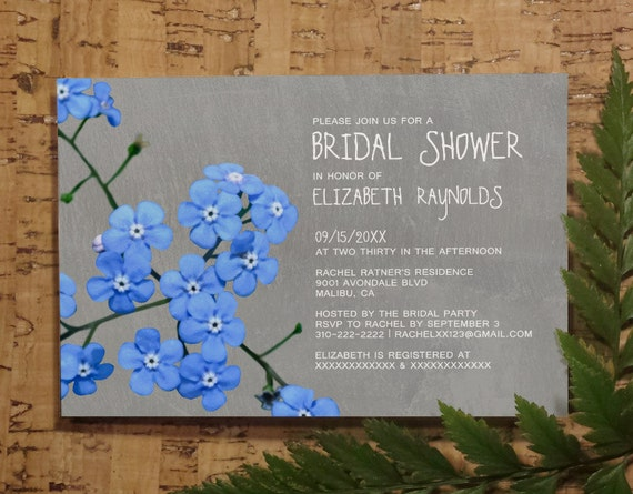 Forget Me Not Wedding Invitations: Forget-Me-Not Bridal Shower Invitation Template By