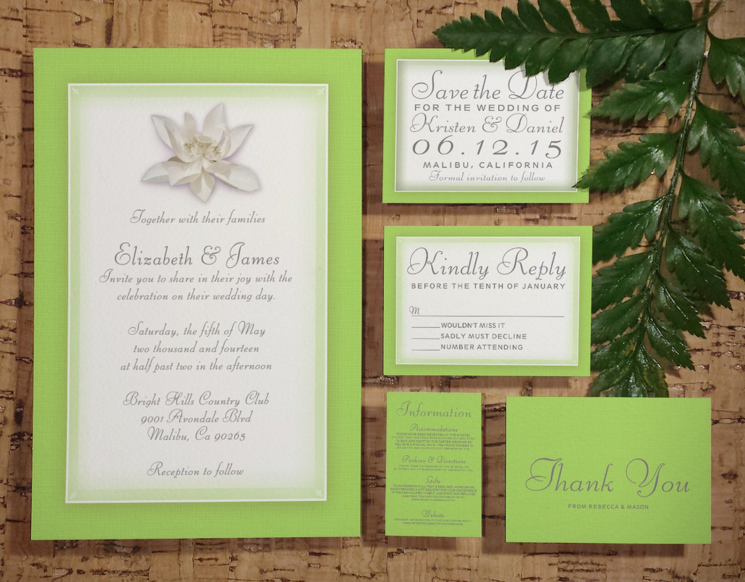 Royal Blue And Lime Green Wedding Invitations: Lime Green Wedding Invitation Set/Suite Invites By
