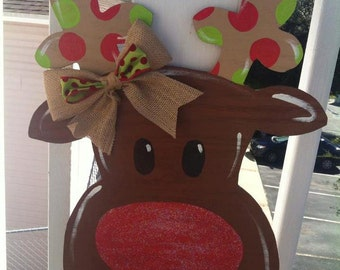 Whimsical Rudolph Red Nose Reindeer Door Hanger