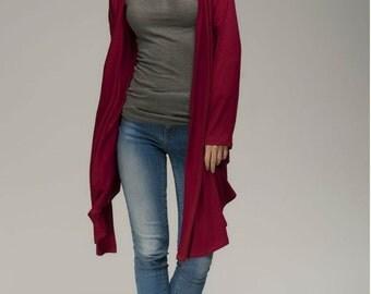Burgundy Cardigan Womens.Oversized Jacket Woman.Assymetrical Cardigan.