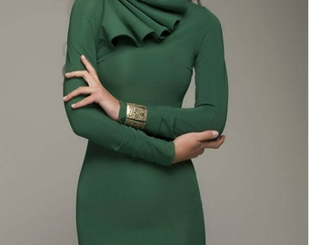 Dark Green Pencil Dress Knee Length, Long Sleeve Fitted Dress Retro.