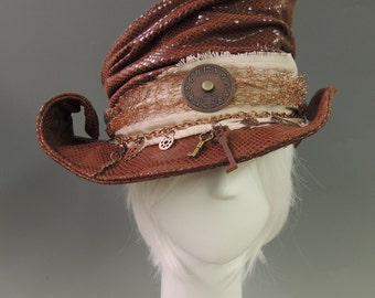 Eleanor Steampunk Mad Hatter Leather Tophat Cosplay Costume Millinery - Custom made sculptural Top Hat