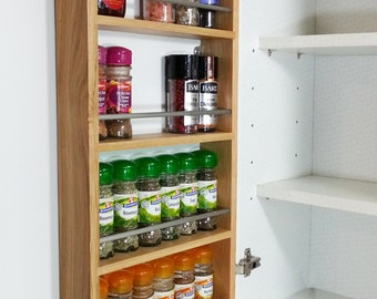 Solid Pine Spice Rack Contemporary Modern Style 4 Shelves