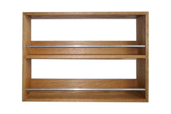 Solid Oak Spice Rack Contemporary Style 2 Shelves Freestanding