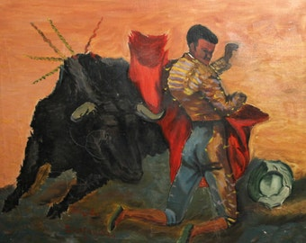 European vintage art bull fight portrait oil painting signed