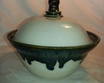 Ornamental Bowl with a pickelhiem lid.