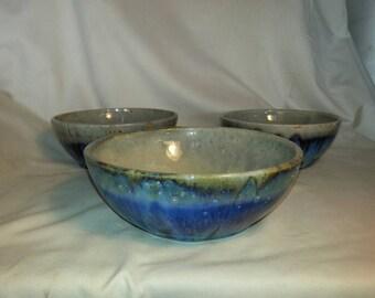 Blue mottled ceramic soup bowls