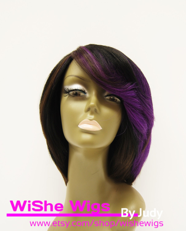 Black And Purple Human Hair Wig 80