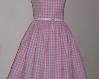 Dress retro vintage pink and white gingham