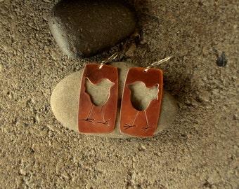copper bird earrings