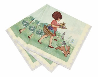 Retro Belle & Boo party napkins. Pack of 20. FREE P+P
