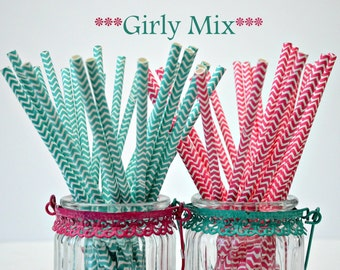 Paper Straws- Green- Pink and Aqua Straws- Chevron 24 Piece