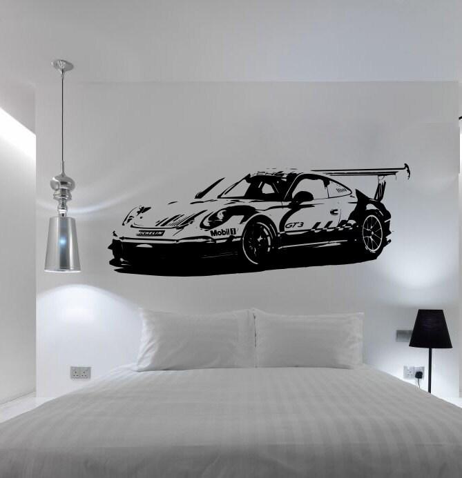 Grosse voiture porsche 911 gt3 supercar mur autocollant for Pochoir a peindre sur mur