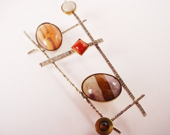 """Sterling Textured Wire Frame with Assorted Jaspers and Tiger Eye """"Ladder Pin with Jaspers"""""""