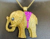 Fitbit Necklace for FitBit Flex Activity Tracker - REESE Gold with Purple Rhinestone Elephant Fitbit Necklace - FREE SHIPPING