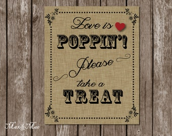 Wedding Popcorn Bar Sign, Love is Poppin', Reception Decor, Reception Popcorn Bar, Digital File, Printable