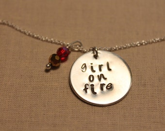 Hand stamped Hunger Games Katniss inspired sterling silver necklace