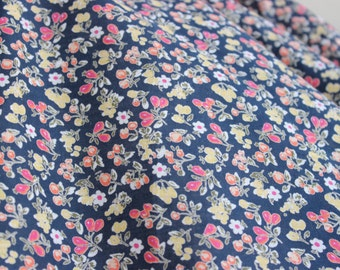 Dark Navy Floral Cotton by the Yard, Floral Cotton Yardage, Fabric by the Yard, Cotton Yardage, Yardage