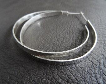 FLAT SILVER HOOPS - Hammered sterling silver flat thick wide hoops - minimal silver hoop earrings - minimal silver wide flat hoop earrings