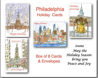 Philadelphia Christmas Cards. 8 Boxed 4.25 x 5.5 Cards. Art Print of Original Painting. Message Inside.