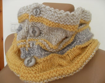 Warm knit collars,strickkragen, bolero soft woolen yarn, beige and yellow.