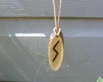 Wooden Pyro'ed Rune Pendant