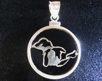 Michigan Quarter Cut Coin Necklace Pendant Great Lakes
