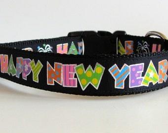 Happy New Year Black Dog Collar
