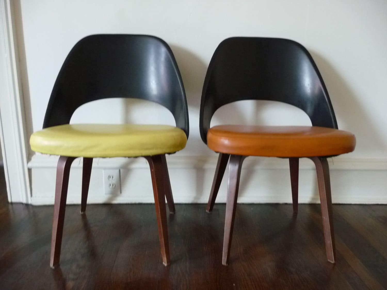 Rare vintage knoll eero saarinen side chair fiberglass back - Chaise tulipe knoll vintage ...