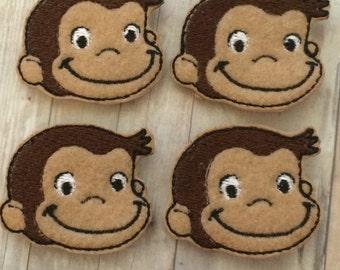 """4 cute monkey  felties 1.75"""""""