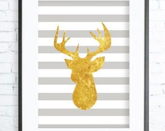 Gold Deer Head, Gold Deer Wall Decor, Deer Art Print, Deer Antler Print, Deer Antlers Wall Art, Instant Download