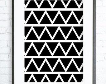 Black Triangles Printable,Black & White Triangles Pattern, Print Art, modern art,Triangles  print,Triangles Printable