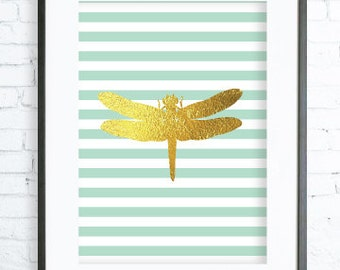 Mint Dragonfly, Mint Dragonfly Print,Gold and Mint Dragonfly Art Print , digital art, Mint Dragonfly Wall Art