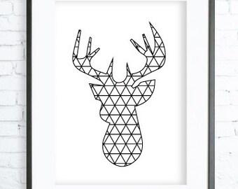 Geometric Deer Print, Instant Download Printable, Deer Head Wall Decor, Modern Art, Deer Print, Deer Art Print, Printable Deer