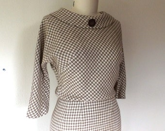 1950s wool dress in cream and brown houndstooth