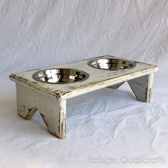 Diy Cat Slow Feeder: Small Wooden Elevated Pet Feeder Two Raised Stainless By