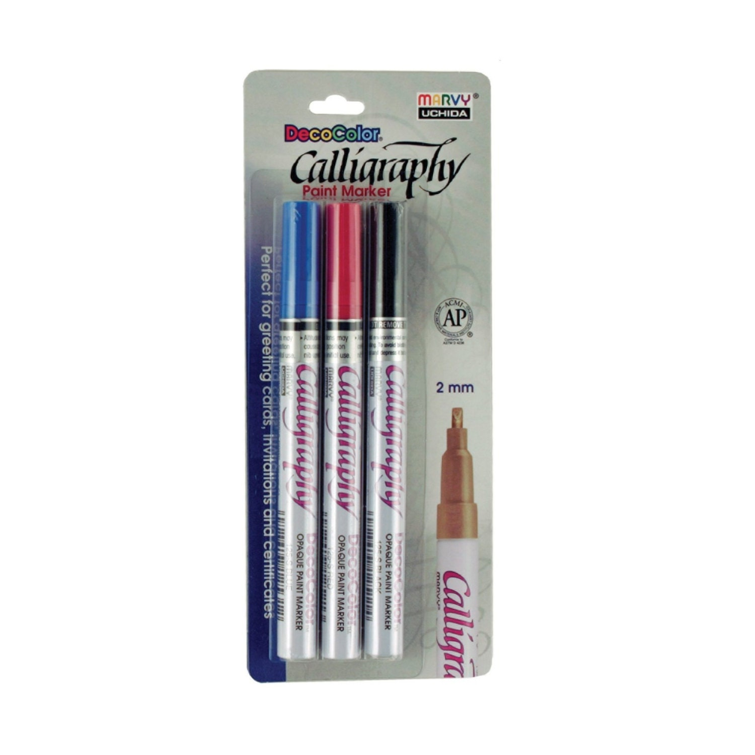 Uchida Marvy 3 Piece Calligraphy Paint Marker Set 2mm Nib